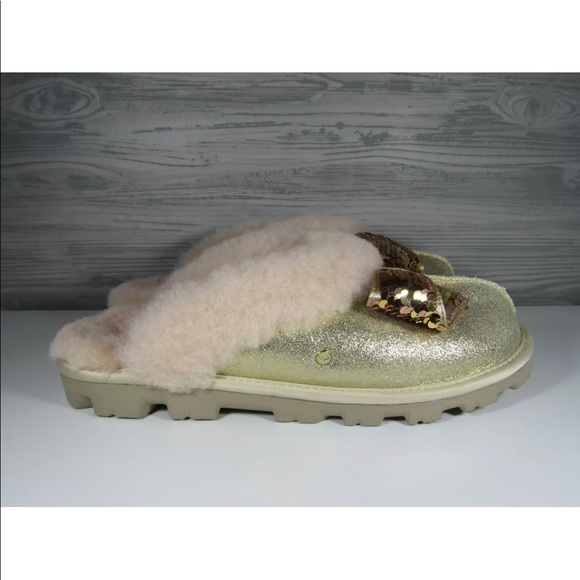 f0ef44fb7bc UGG COQUETTE SEQUIN BOW SLIPPERS GOLD COLOR NWT